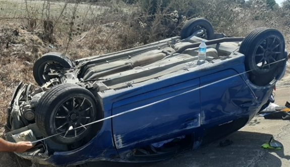 Araç takla attı: 2 yaralı!